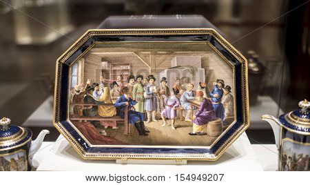 Moscow Russia -September 082016: Dinner set tete-a-tet. Saksoniya.Tray with the image of dance in a tavern. Museum of the Patriotic War of 1812