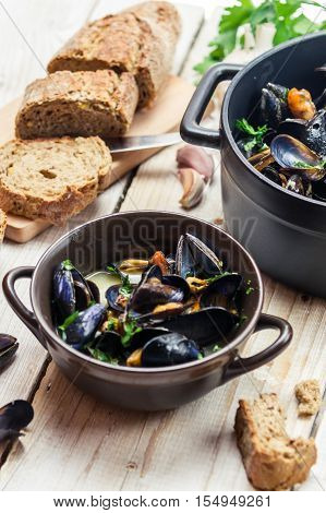 Freshly Cooked Mussels At Home And Served With Bread