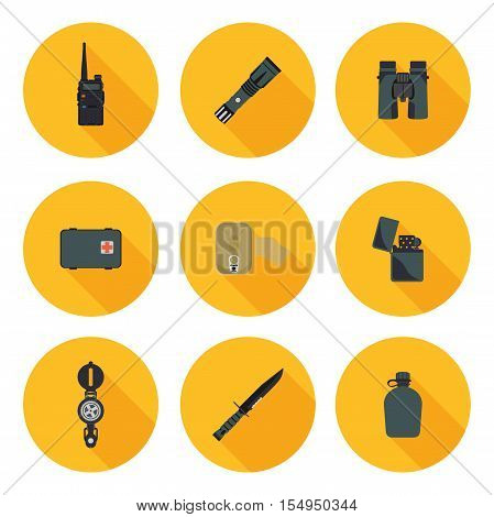flat icons set of survival in vector format eps10