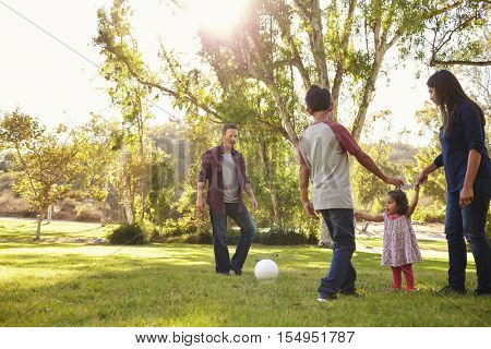 Young mixed race family playing with ball in a park, backlit