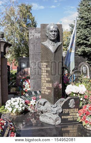 Moscow Russia -September 102016: Novodevichye Cemetery. Tomb Admiral of fleet Sergei Gorshkov