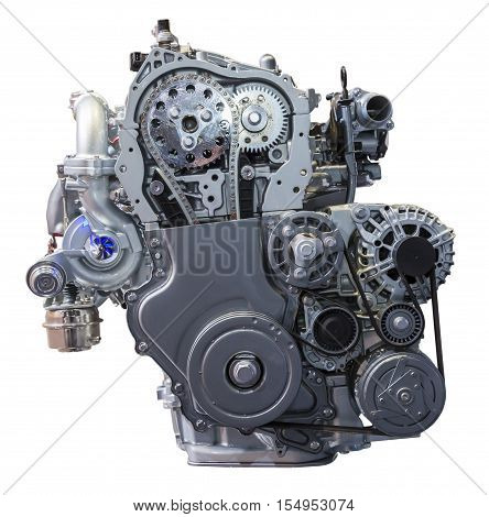 Modern turbo diesel engine isolated on white