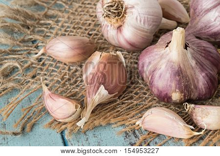 Heads and cloves of garlic on a sackcloth on a blue wooden table.
