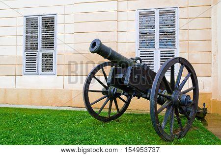Cannon near the wall of castle Kynzvart in western Bohemia