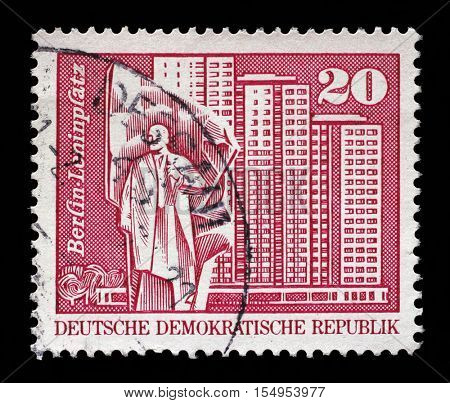 ZAGREB, CROATIA - JULY 02: A stamp printed in the Federal Republic of Germany shows Leninplatz in Berlin, circa 1973, on July 02, 2014, Zagreb, Croatia
