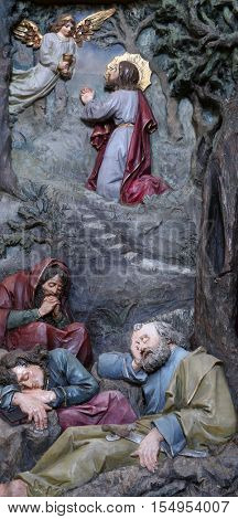 STITAR, CROATIA - AUGUST 27: Agony in the Garden, Jesus in the Garden of Gethsemane, altarpiece in church of Saint Matthew in Stitar, Croatia on August 27, 2015