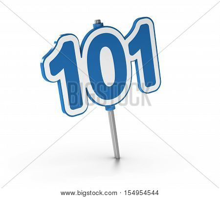 3D illustration of the number 101 over white background. Symbol of introductory courses