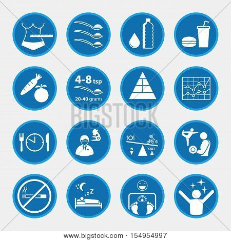 Icon set of obesity related diseases and prevention
