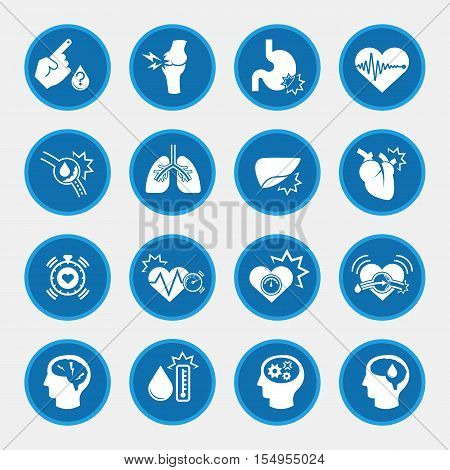 obesity related diseases icons with blue circle button