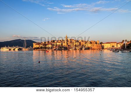 Medieval town at sunset. Old town of Korcula in the summer sunset light