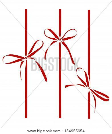 Decorative red bows. Vector bow silhouette isolated on white