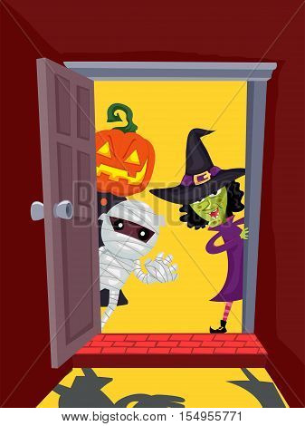 Vector Illustration of Door Open with Halloween Characters