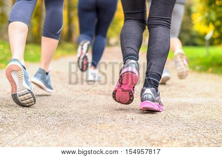 Group Of Young Woman Jogging Together In A Park