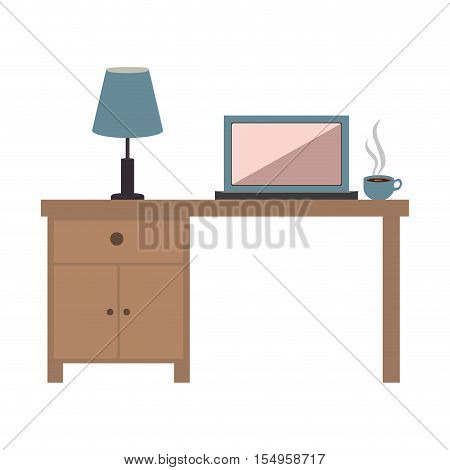 office desk wooden with laptop and coffe mug icon over white background. vector illustration
