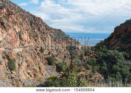 Highway winding through a mountain pass Jerome Arizona