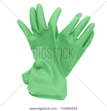 Pair of green rubber cleaning gloves isolated on a white background