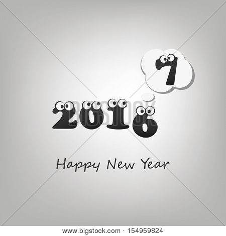 Another Year Passed - Numerals with Rolling Eyes - Abstract Black and White Modern Style Funny Happy New Year Greeting Card or Background, Creative Design Template - 2017