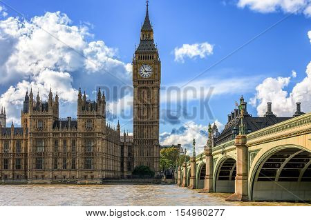 The Big Ben in London on a sunny day
