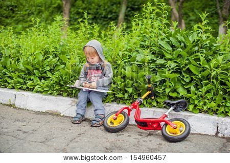 Little Boy Reading A Book Under Big Linden Tree