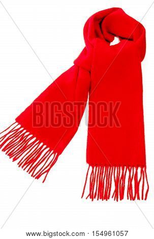 Warm red scarf out of pure cashmere wool isolated on white background.