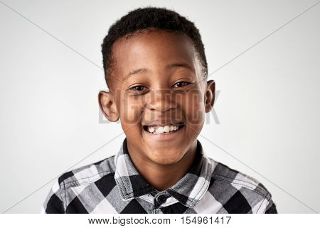 Portrait of real happy african black child smiling