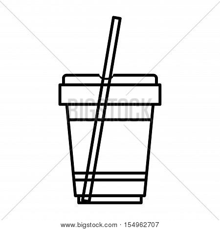 plastic cup with straw. drink container icon over white background. vector illustration