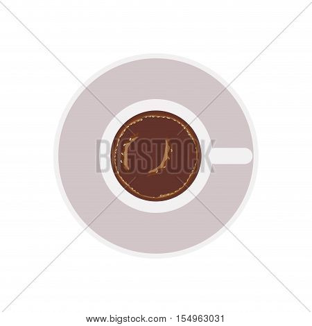 coffee mug icon over white background. caffeine drink. top view. vector illustration