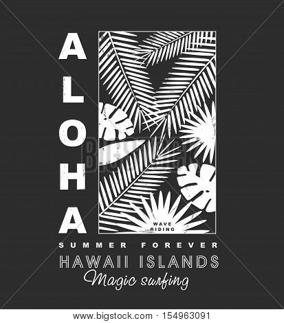 Aloha hawaii islands illustration with palms tree illustration for t-shirt print , vector illustration.