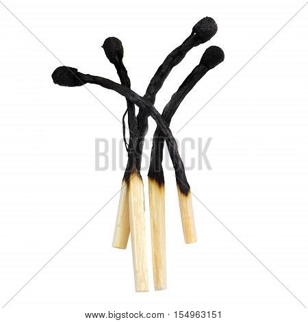 Wooden match close-up isolated on white background