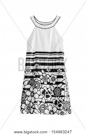 Black and white mini dress isolated over white
