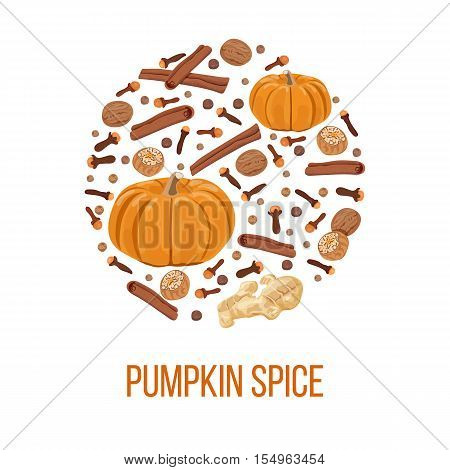 Thanksgiving card. Pumpkin spice on bauble shape. Pumpkin, nutmeg, ginger, cloves, cinnamon, allspice. For wrapping, textile cafe design decoration packing wrapping Postcard background Vector