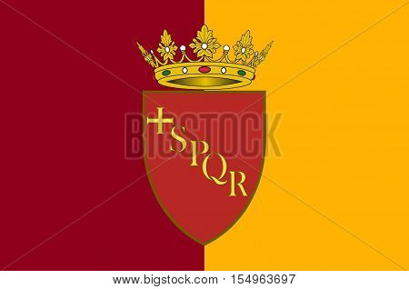 Flag of Rome is a city and special comune in Italy. Rome is the capital of Italy and of the Lazio region