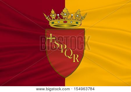 Flag of Rome is a city and special comune in Italy. Rome is the capital of Italy and of the Lazio region. 3d illustration