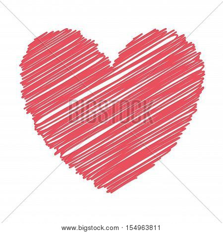 red heart icon over white background. love symbol. sketch and draw design. vector illustration