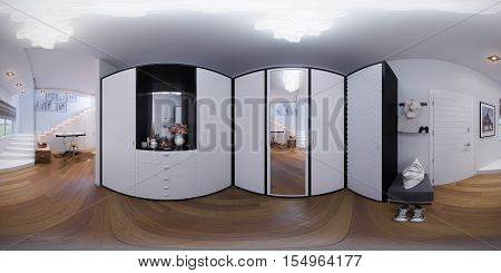 3d illustration spherical 360 degrees, seamless panorama of hall interior design.