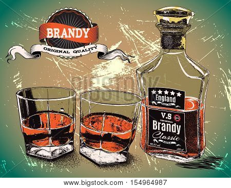 two glasses with bottle of alcohol drink.Vintage poster.Vector illustration