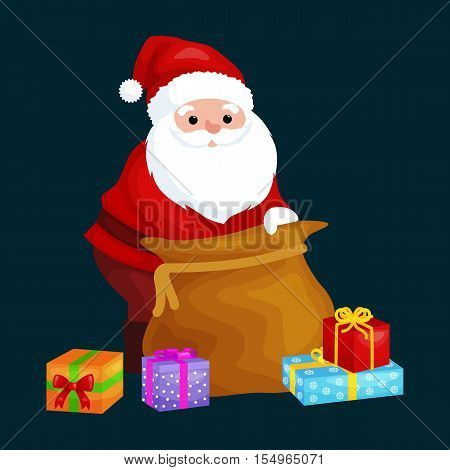 christmas Santa Claus with bag full of presents for winter holiday xmass, new year gifts vector illustration.