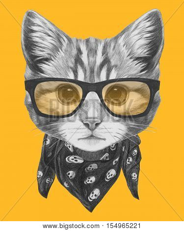 Original drawing of Cat with glasses and scarf. Isolated on colored background