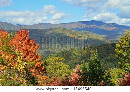 Great Smoky Mountain range in the fall