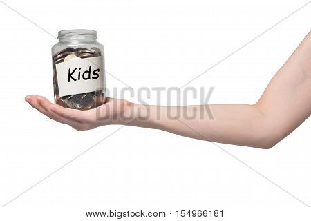 human hand hold piggy bank with bath coins on isolated gradient red background.