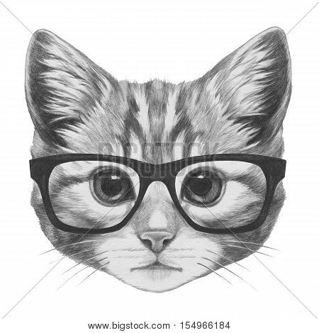 Portrait of Cat with glasses. Hand drawn illustration.