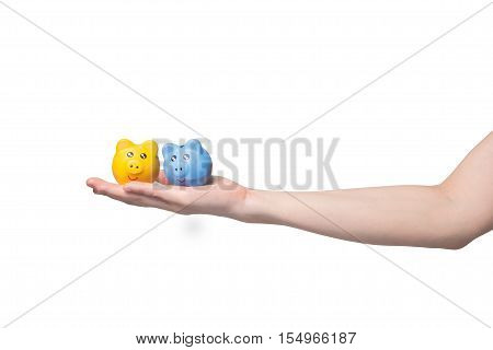 human hand holding yellow and blue sky piggy bank on isolated white background Saving money for investment concept.