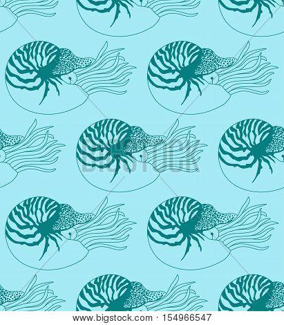 seamless pattern made of Nautilus Pompilius on blue background