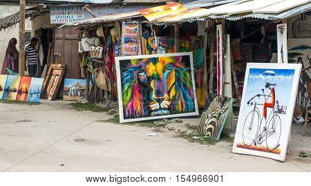 ZANZIBAR, TANZANIYA- JULY 10: local stalls with souvenirs for tourists in village on July 10, 2016 in Zanzibar