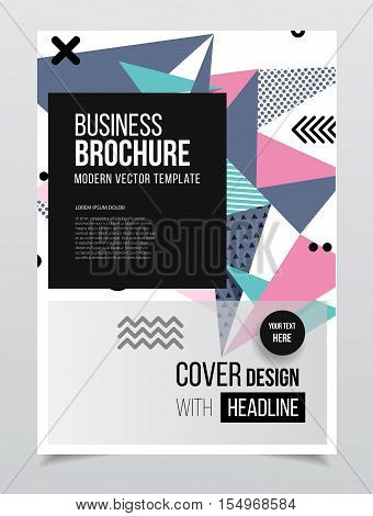 Annual Report Vector Illustration. Brochure With Text. A4 Size Corporate Business Brochure Cover. Bu