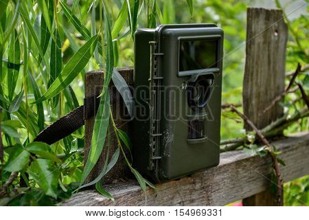 Camera Trap With Infrared Light And Motion Detector Attached With Straps On A Wooden Fence