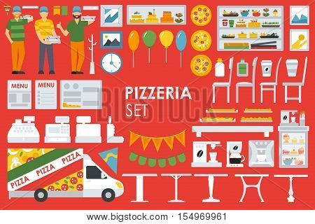 Big detailed Pizzeria Interior flat icons set. Minibar, Refrigerator, Waiter, Chairs, Coffee, Coffee Machine, deliveryman, Tables. Pizza conceptual web vector illustration.