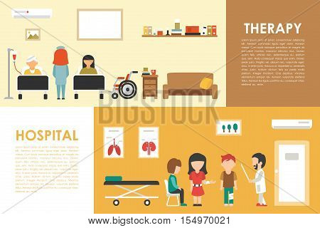 Hospital Therapy flat medical hospital interior concept web vector illustration. Doctor, Patients, Queue, Medicine service presentation