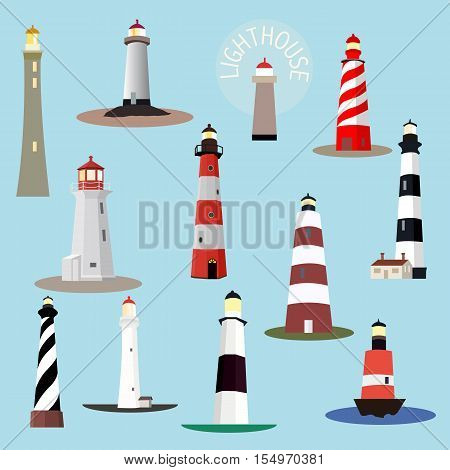 Set of cartoon lighthouses. Searchlight towers for maritime navigation guidance. Ocean beacon light vector tower lighthouse. Vector illustration.