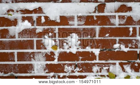 red brick wall with snow texture background